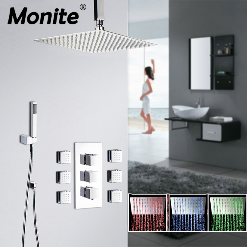 8/12/16 Chrome Brass LED Rainfall Ceiling Shower Head Bathroom Bathtub Wall Mounted Massage Jets Mixer Tap Shower Faucets Sets 8 led bathrome bathtub rainfall shower head polished wall mounted swivel mixer taps shower faucets set chrome finish