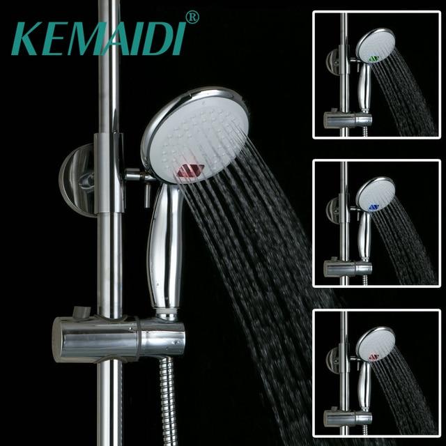 KEMAIDI Water Power Chrome Handheld Shower Head Round Chrome Finish  Multi Color LED Hand Shower