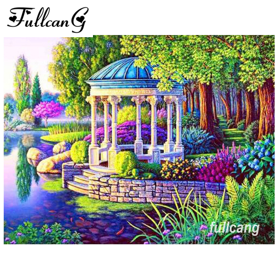 FULLCANG mosaico costura diy 5d diamante bordado parque lago - Artes, artesanía y costura