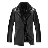 302 fall and winter men leather fur collar leather fur coat male business and leisure Travelers Leather Jacket