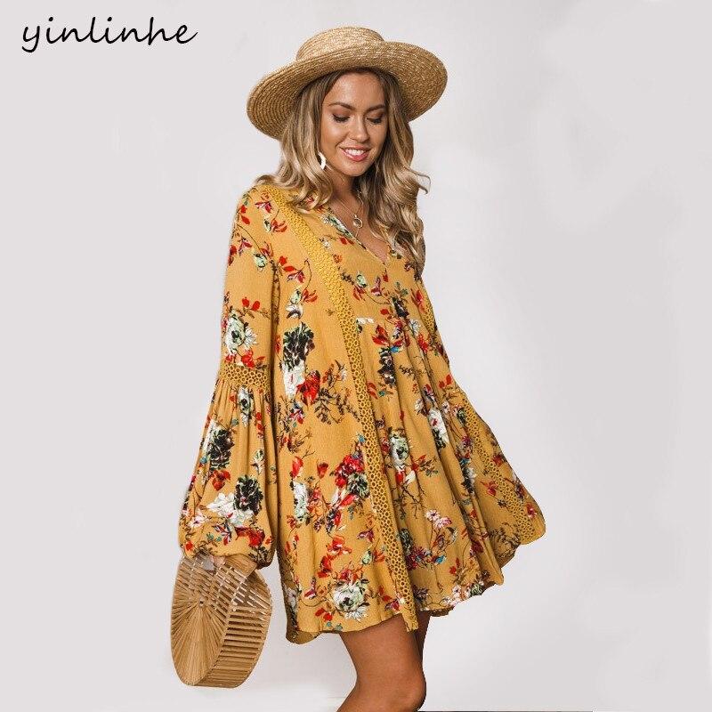 yinlinhe Floral Yellow Plus Size Women Dress Long Sleeve Beach Dress Summer Hollow Out Loose Bohemian Cotton Vestidos 450