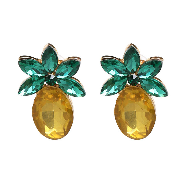Qiaose Yellow Pineapple Friut Crystal Stud Earrings for Women Fashion  Jewelry Boho Maxi Collection Earrings Accessories 751c5371e8a1
