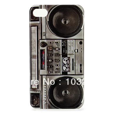 Free Shipping Unique Cassette Recorder Pattern Protective Back Cover Case for iPhone 4 4S