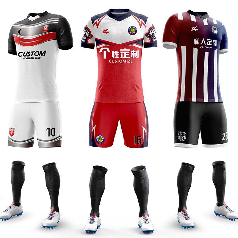 Custom Football Jerseys Full Sublimation Printing Soccer Jerseys Club Team Football Training Uniform Suit Soccer Uniform For Men 1
