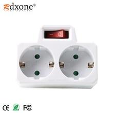 Rdxone 16A Europese Type Conversie Plug 1 NAAR 2 Manier EU Standaard Power Adapter Socket met Schakelaar