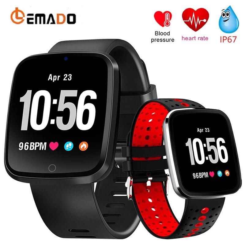Lemado V6 Смарт часы Шагомер сердечного ритма крови Давление мониторинга IP67 Водонепроницаемый спортивные Smartwatch для IOS Android