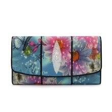 Fashion Designer Genuine Stingray Skin Bright Blue Women Long Flower Wallet Larg