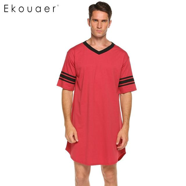 Ekouaer Men Sleepwear Long Nightshirt Short Sleeve Nightwear Night Shirt Soft Comfortable Loose Sleep Shirt Male Home Clothing