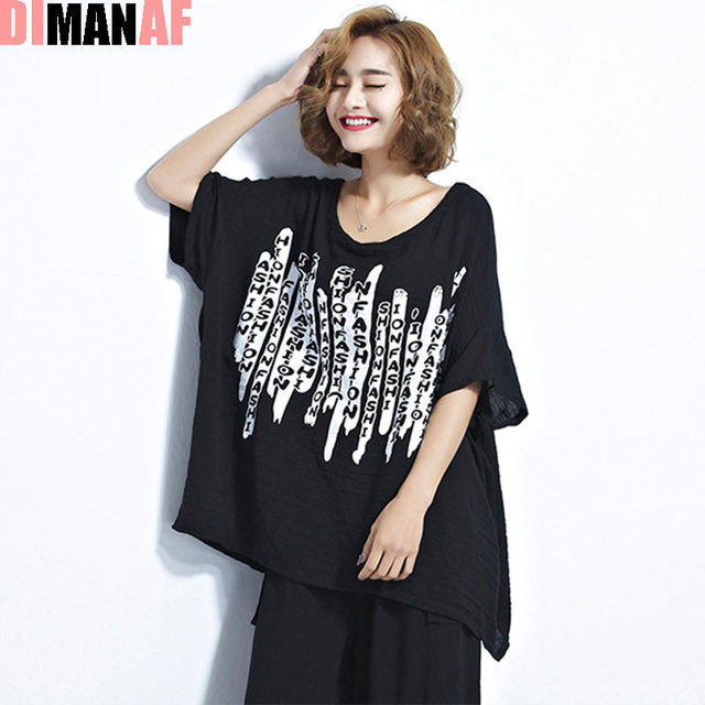 17ef2e41212 DIMANAF Women T-Shirt Plus Size Summer Cotton Letter Pattern Print Batwing  Sleeve Female Fashion Casual T-Shirt Tumblr Tees