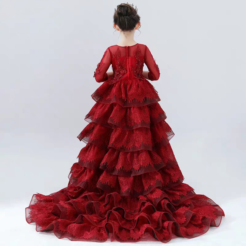 2019 Good-Quality Children Girls Gorgeous Fashion Dance Model T-Show Performance Long Tail Dress Kids Evening Party Prom Dress2019 Good-Quality Children Girls Gorgeous Fashion Dance Model T-Show Performance Long Tail Dress Kids Evening Party Prom Dress