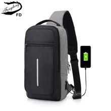 a16a64d9c6d0 FengDong мужской слинг нагрудная сумка для путешествий Светоотражающая  полоса backbag Мужчины одно плечо usb сумка водостойкая