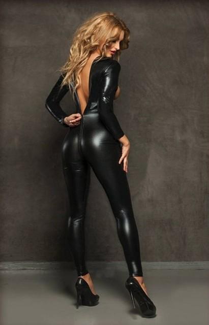 Faux Leather 2 Way Zipper Open Bust Bodysuit Turtleneck Shiny Bondage Catsuit Catwomen Sexy Suit Women's Jumpsuits Lingerie FX39