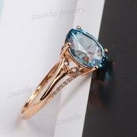 8x10 мм овальным вырезом Природный Голубой топаз кольцо Diamonds Твердые 14 К розовое золото Для женщин Обручение обручальное кольцо fine Jewelry подар