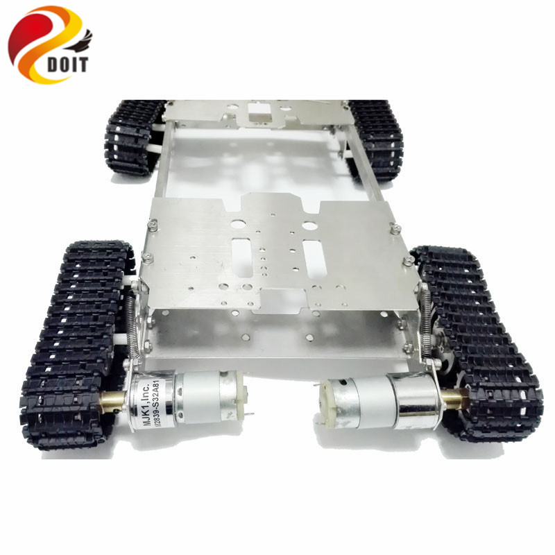 DOIT 4WD Tank Chassis Crawler smart Tank Car Chassis for DIY Toy Mobile Platform Mounting Interface for Servo Robot Arm