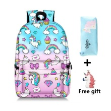 New Unicorn print student school bag Pink green iridescent 3 Set combination child backpack Girl waterproof backpacks Travel