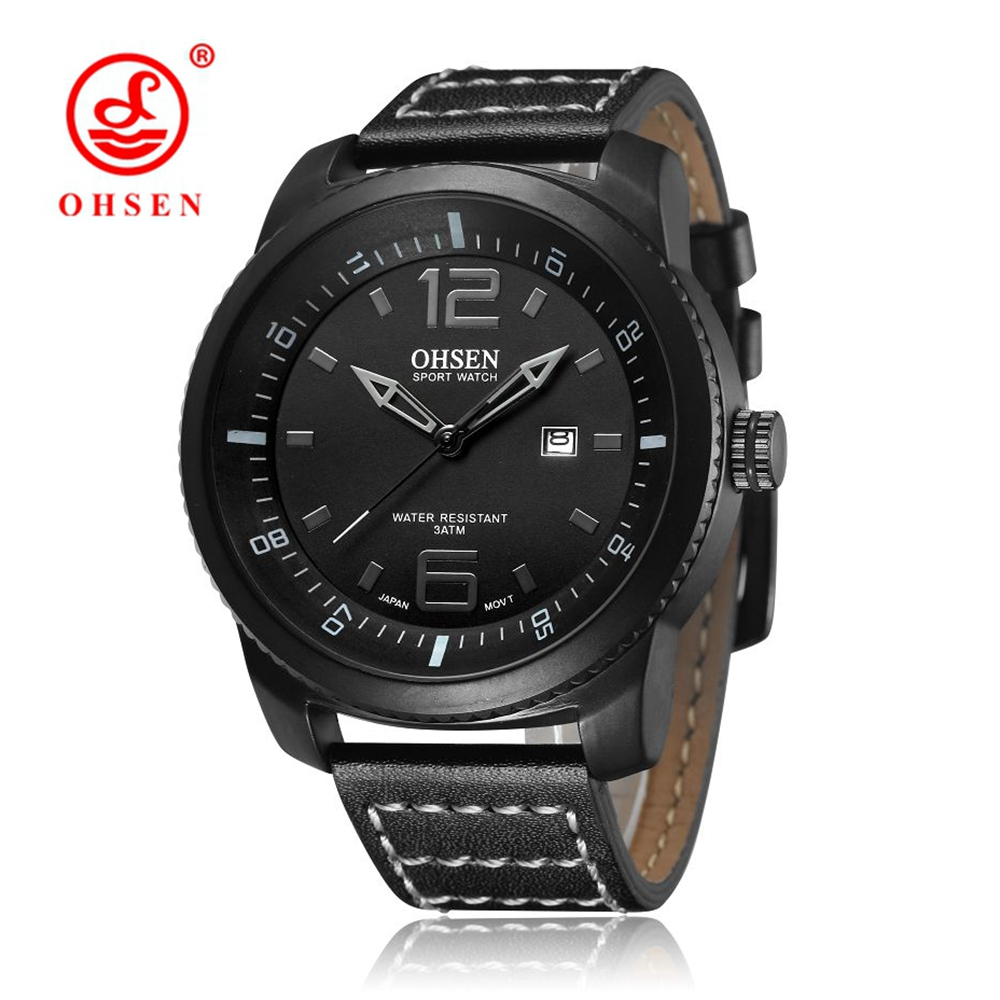 Top Brand OHSEN Auto Date Sport Watch Men Hombre Quartz Male Wristwatch 30m Swim Shock Resistant Leather Strap Relogio Masulino new watch men auto date business fashion quartz men watch top brand wristwatch male reloj hombre orologio uomo relogio masculino