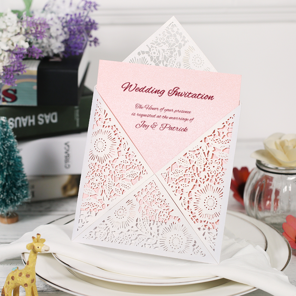 10pcs Laser Cut Wedding Invitation Cards Set Card Holder Envelope Inner Sheet Carved Flower Wedding Card Bridal BirthdayParty 1 design laser cut white elegant pattern west cowboy style vintage wedding invitations card kit blank paper printing invitation