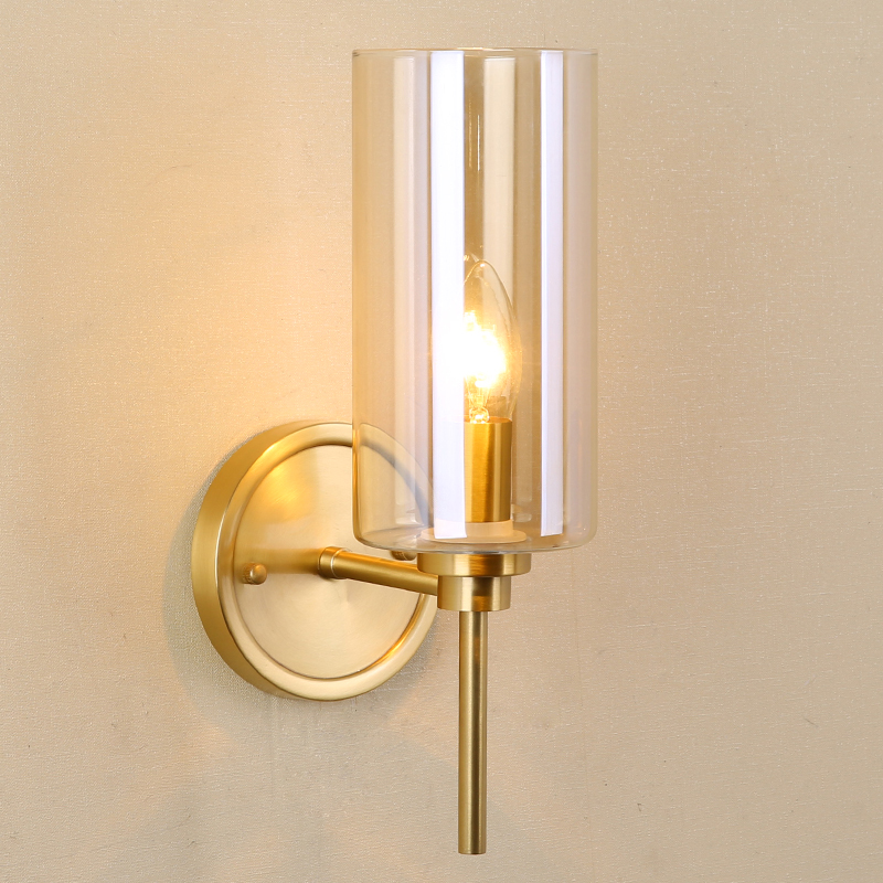 All copper wall lamp living room, modern light luxury ...