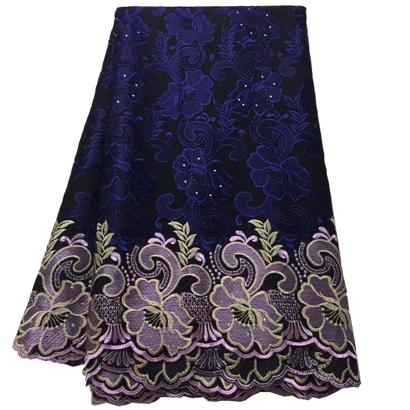 (5yards/pc) wonderful navy blue African cotton lace fabric embroidered Swiss voile lace fabric for beautiful dress CLS204(5yards/pc) wonderful navy blue African cotton lace fabric embroidered Swiss voile lace fabric for beautiful dress CLS204