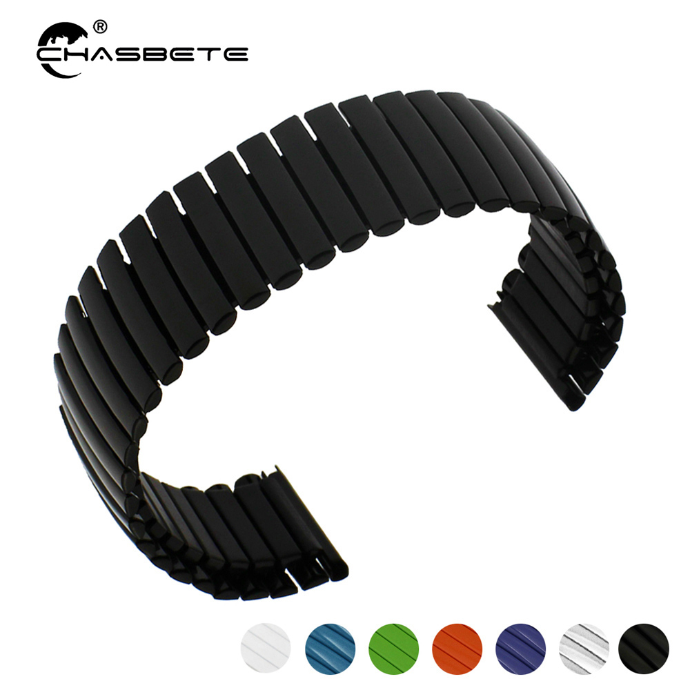 Stainless Steel Watch Band 12mm 14mm 16mm 18mm 20mm 22mm 24mm 26mm Elastic Strap Loop Wrist Expansion Belt Bracelet Silver Black