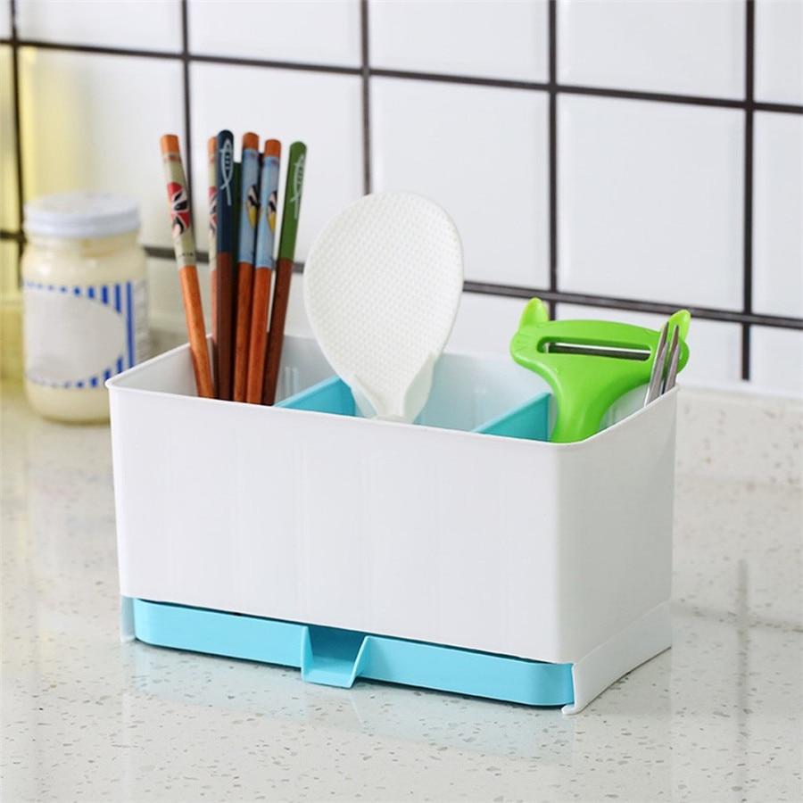 3 цвета двойной Отдел плиты Кухня слив хранения стойки Палочки Китайские Ложка сухой корзина Посуда держатель Организатор дропшиппинг