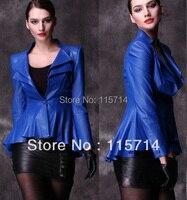 Top Grade 2013 New Fashion Women Black Blue Red Ruffle Real Leather Blazer Jacket Sheepskin Lamb
