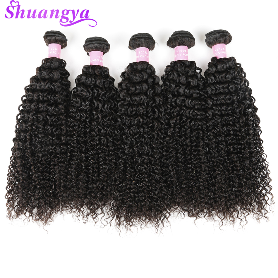 Mongolian Kinky Curly Remy Hair Bundles 100% Human Hair Weave Bundles Natural Color 4pcs /lot Free Shipping 8-28 Inch Shuangya