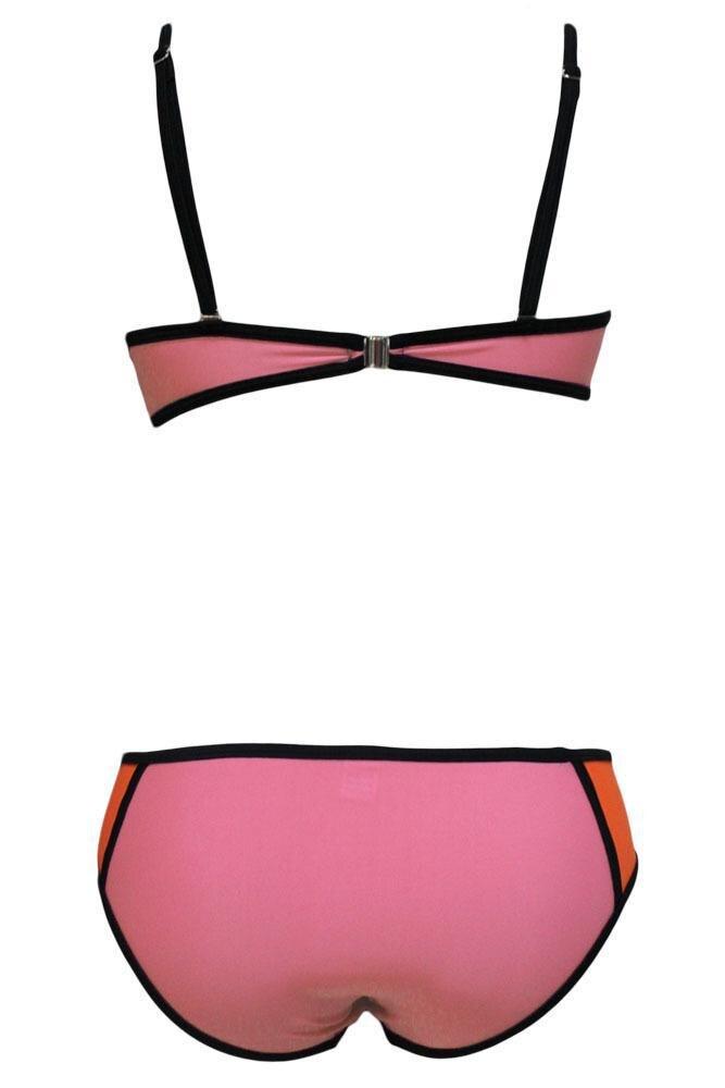 b51b9c6124d3 2015 Women Cool Beach Colorful Bathing Suit Rosy Color Patchwork 2PC ...