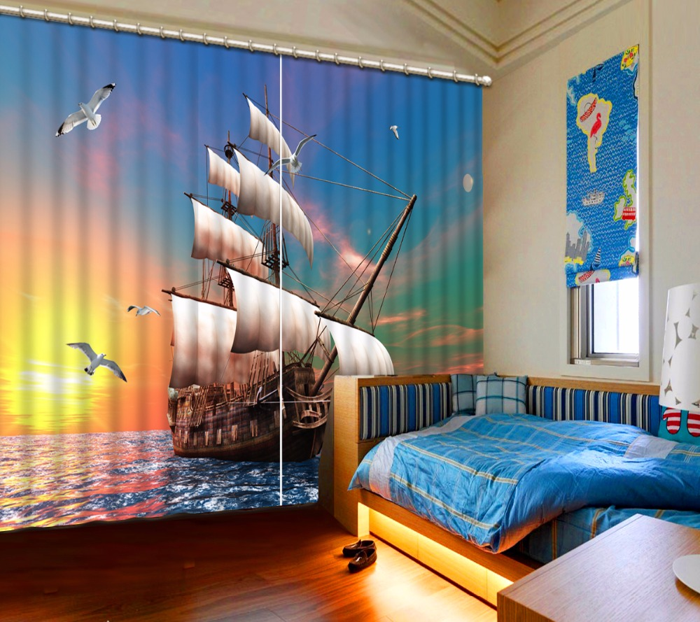 3D Curtain Fashion Customized Sunset Sea Boat Curtains For Bedroom New Custom 3D Beautiful Blackout Shade Window 3D Curtain
