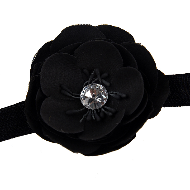Infant Girl Baby Toddler Flower Headband black