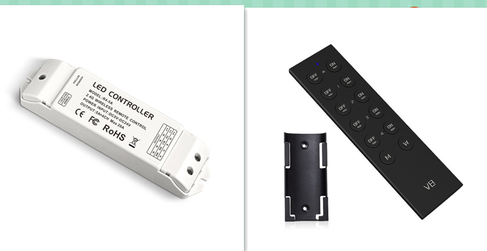 R4-5A&V8;2.4G LED RGBW controller;DC12-24V input;5A*4CH output m3 m4 5a m3 touch rf remote with m4 5a cv receiver led dimmer controller dc5v dc24v input 5a 4ch max 20a output