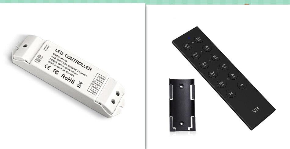 R4-5A & V8; 2.4G LED contrôleur RGBW; entrée DC12-24V; sortie 5A * 4CH