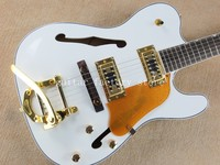 Custom shop TL white Semi Hollow Body Guitar Jazz Electric Guitar with Bigsby Golden Hardware ,freeshipping