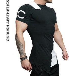 Мужская футболка с коротким рукавом, футболка для бодибилдинга, дышащая, для тренировок, фитнеса, с неровным вырезом
