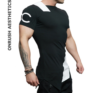 Мужская футболка для бодибилдинга, с коротким рукавом, дышащая, с асимметричным вырезом