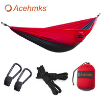 Acehmks Camping Hammock Swings 270CM 140CM Single Outdoor Portable Ultralight Parachute Nylon Hammock With Tree Ropes