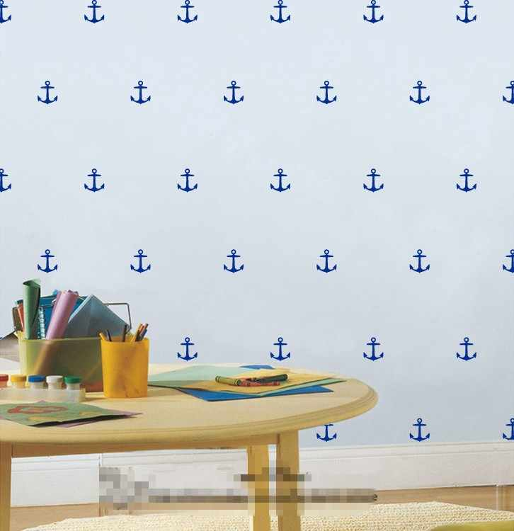 16pcs/set Removable Anchor shape wall Sticker,nursery nautical wall art for kids room decoration
