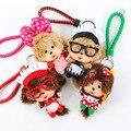 Bonito dos desenhos animados boneca de pelúcia monchhichi corda trançada pingente chaveiro saco pendurado ornamentos saco de acessórios do bebê crianças meninas brinquedos presentes