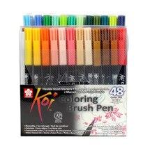 JIANWU 6pcs 12pcs 24pcs 48pcs Japan Sakura KOI Waterborne soft head Mark pen brush pen Halo dyeing Color mixing Brush letter