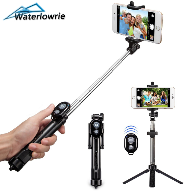 eb40ced9f1c036 Waterlowrie Tripod Monopod Selfie Stick Bluetooth With Button Selfie Stick  For Iphone 6 7 8 Plus IOS System Tripod Selfie Stick