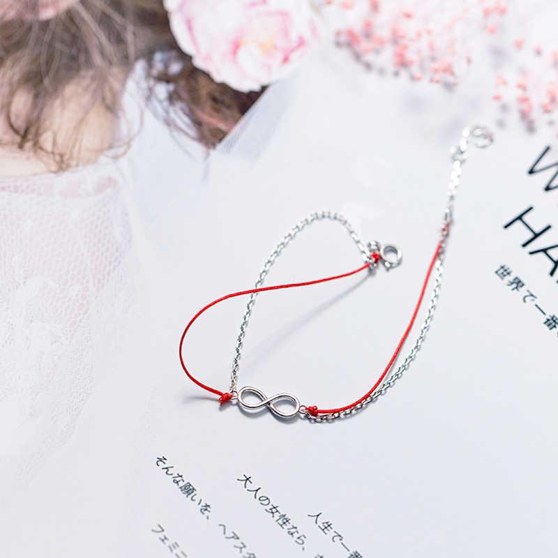 NBSAMENG 925 スターリングシルバー二重層インフィニティエタニティ赤スレッドチャームブレスレット女性の調節可能なブレスレットジュエリー