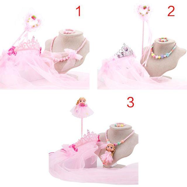 4 ชิ้น/เซ็ตเด็กสาวดอกไม้ Veils Crown Hairband Magic Wand สร้อยคอสร้อยข้อมือชุดเครื่องประดับ Headpiece งานแต่งงานวันเกิดเครื่องแต่งกาย