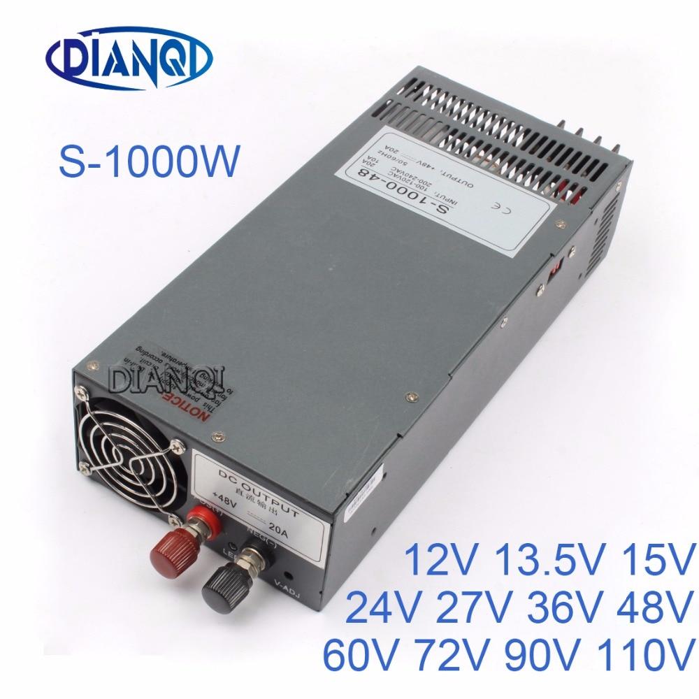 DIANQI S-1000 Switching power supply output 48v 24V 13.5V 1000w power supply transformer power supply  90V 72V 12V s 1000 12 power supply 12v 1000w manufacturer direct sale single output type transformer 12v