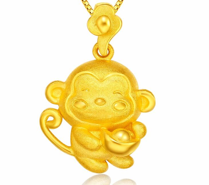 New  Amazing Pure 24k Yellow Gold Pendant Women Lovely Ingot Monkey PendantNew  Amazing Pure 24k Yellow Gold Pendant Women Lovely Ingot Monkey Pendant
