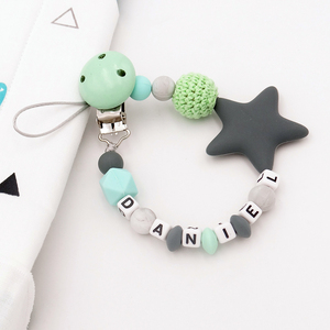 Image 1 - Colorful Silicone Personalized Letter Pacifier Clips Funny Chupetero Chain For Infant Feeding Toddle Chew Toy Clips BPA Free