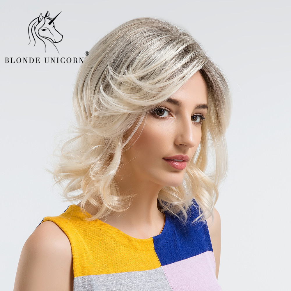 Blonde Unicorn 14 Inch Medium Long Wavy Wigs Curly 30% Human Hair Wig Blonde Ombre Highlights Hair Wig With Side Bangs Free Ship Excellent Quality Synthetic Blend Wigs