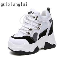 2019 New Women Platform Casual Shoes Mesh Breathable Wedge Heels Shoes 10CM Autu