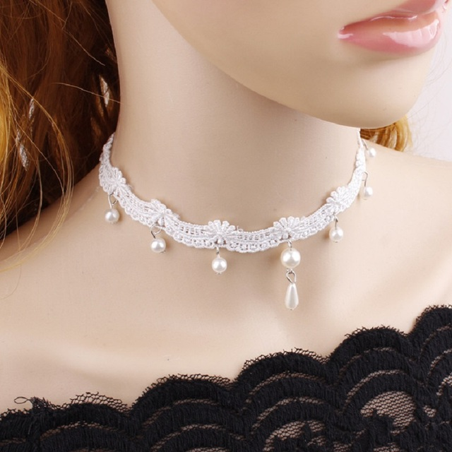 Shuangr Sweet Simple Design Vintage White Lace Women S Choker Necklace Simulated Pearl Jewelry Wedding Party