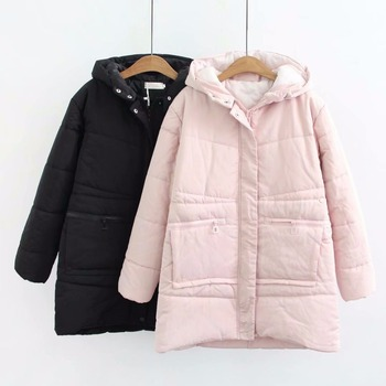 4xl Winter Cotton Hooded Parka Coat Black Pink Women Plus Size Lady Thick Warm Winter Jacket for Woman Parkas Jacket Outerwear