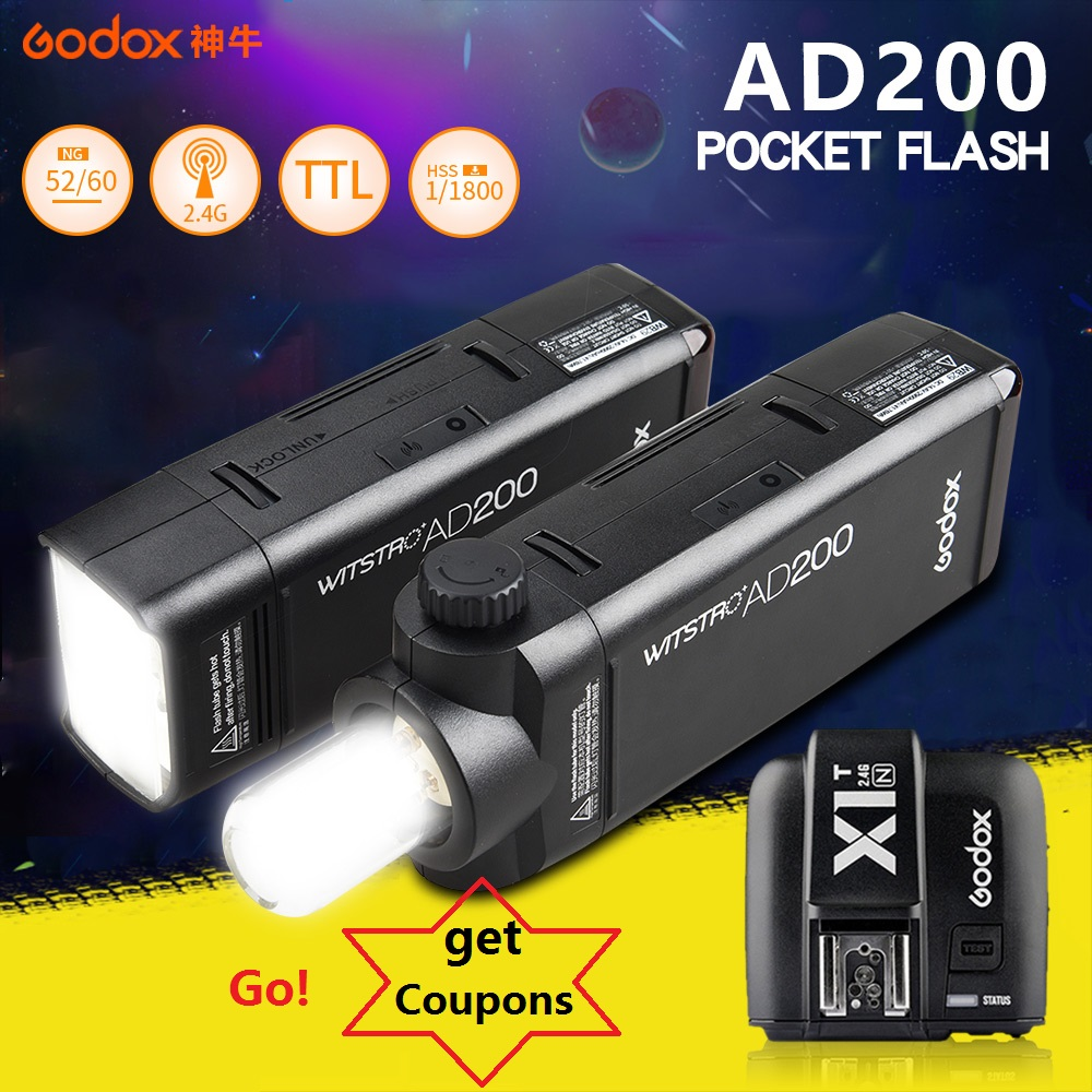 Godox AD200 Pocket Flash Double Head Strobe Speedlite 2.4G with Lithium battery + X1 trigger for Sony Canon Nikon Cameras цена